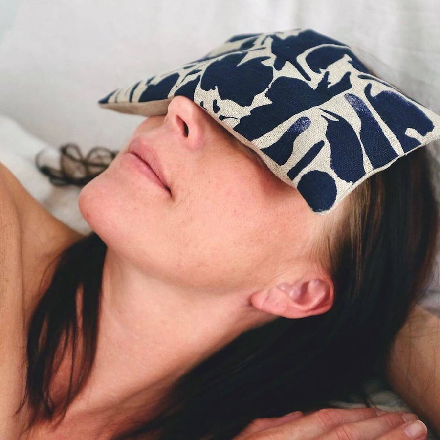 yoga eye pillow with navy pattern - blasta henriet