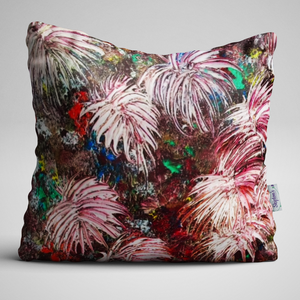 Firework frenzy of Dahlias on luxury velvet cushion