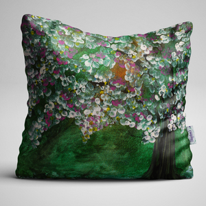 Luxury Designer Velvet Cushion with Apple Blossom design