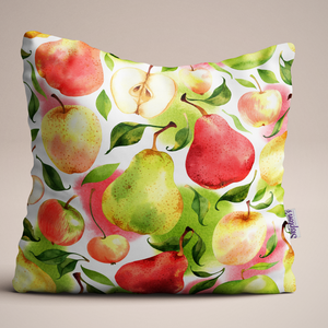 Apple and Pears design luxury linen cushion