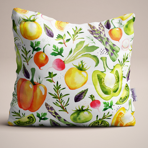 Luxury Linen cushion with Asparagus and Pepper design