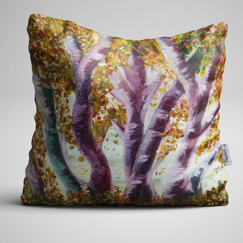 Luxury Velvet Cushion with Woods in Autumn design