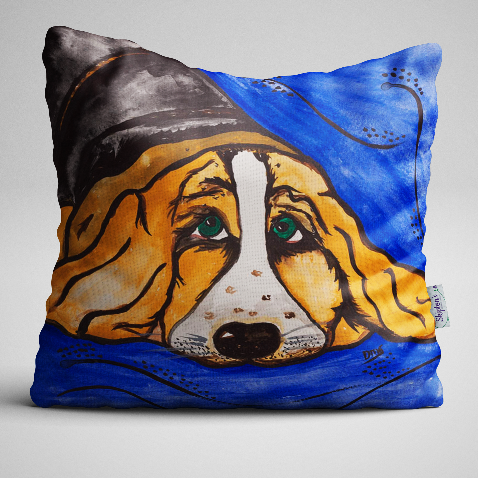 Luxury Velvet Cushion with Basset Hound design