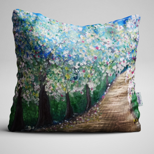 Luxury Velvet Cushion with Blossom Tree Lane design