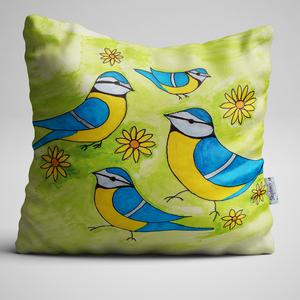 Blue Tit, Wonderful Birds, Inspired by Watercolour Complete Velvet Cushion