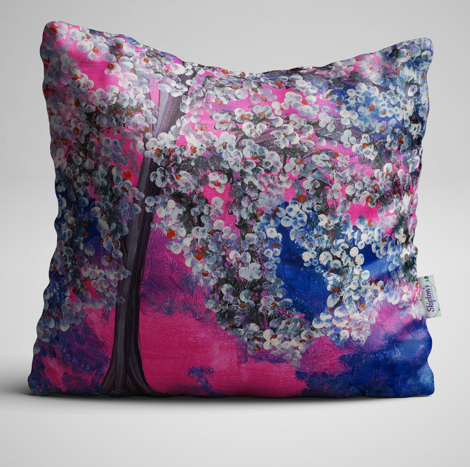 Luxury Designer Velvet Cushion with Cherry Blossom design