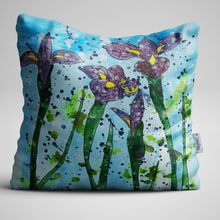 Luxury Velvet Cushion with purple Iris on a blue background