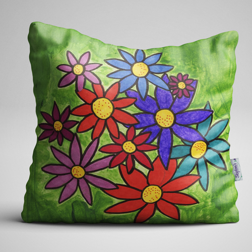 Very colourful daisy designed luxury velvet cushion