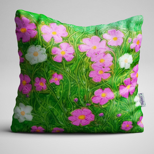 Cosmos flower designed luxury velvet cushion
