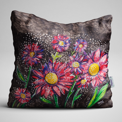 Luxury Velvet Cushion with Red Daisy design