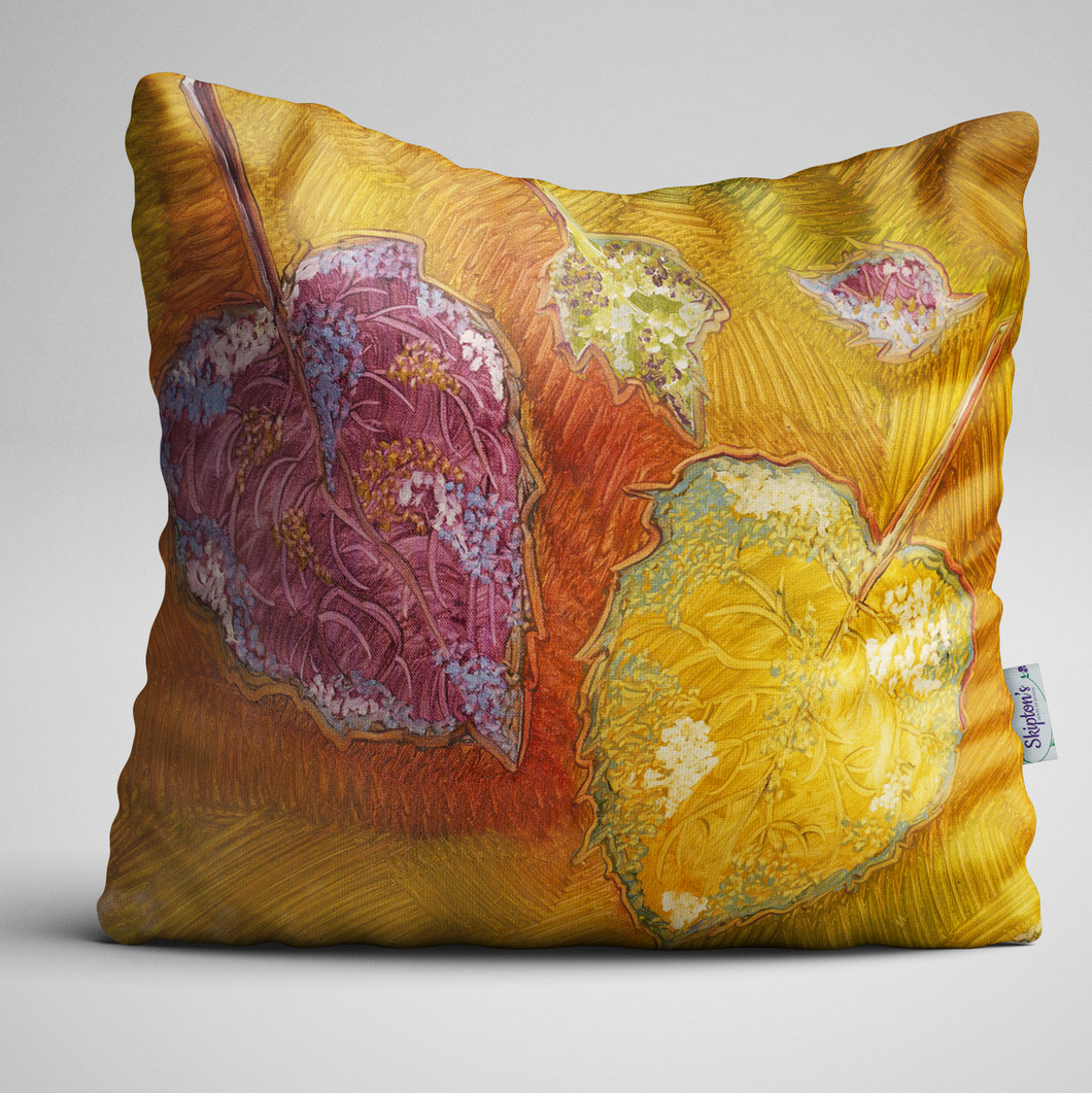 Luxury velvet cushion with fallen autumn leaves design