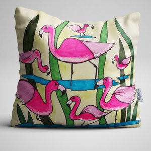Pink Flamingos on a luxury velvet cushion