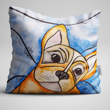 Frenchie the French Bulldog, Unique Quirky Complete Velvet Cushion