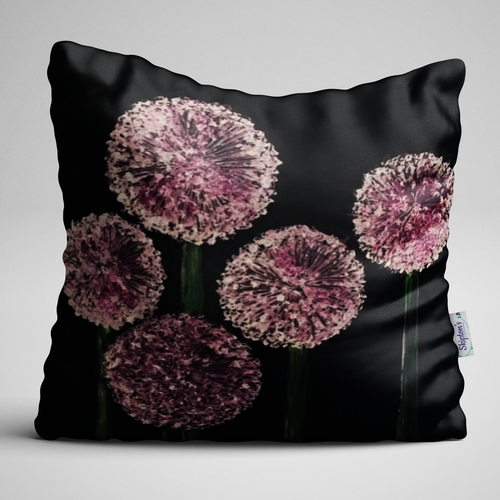 Pink Allium Heads on luxury velvet cushion