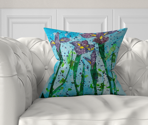 Abstract Iris Watercolour, Smooth Velvet, Complete Cushion