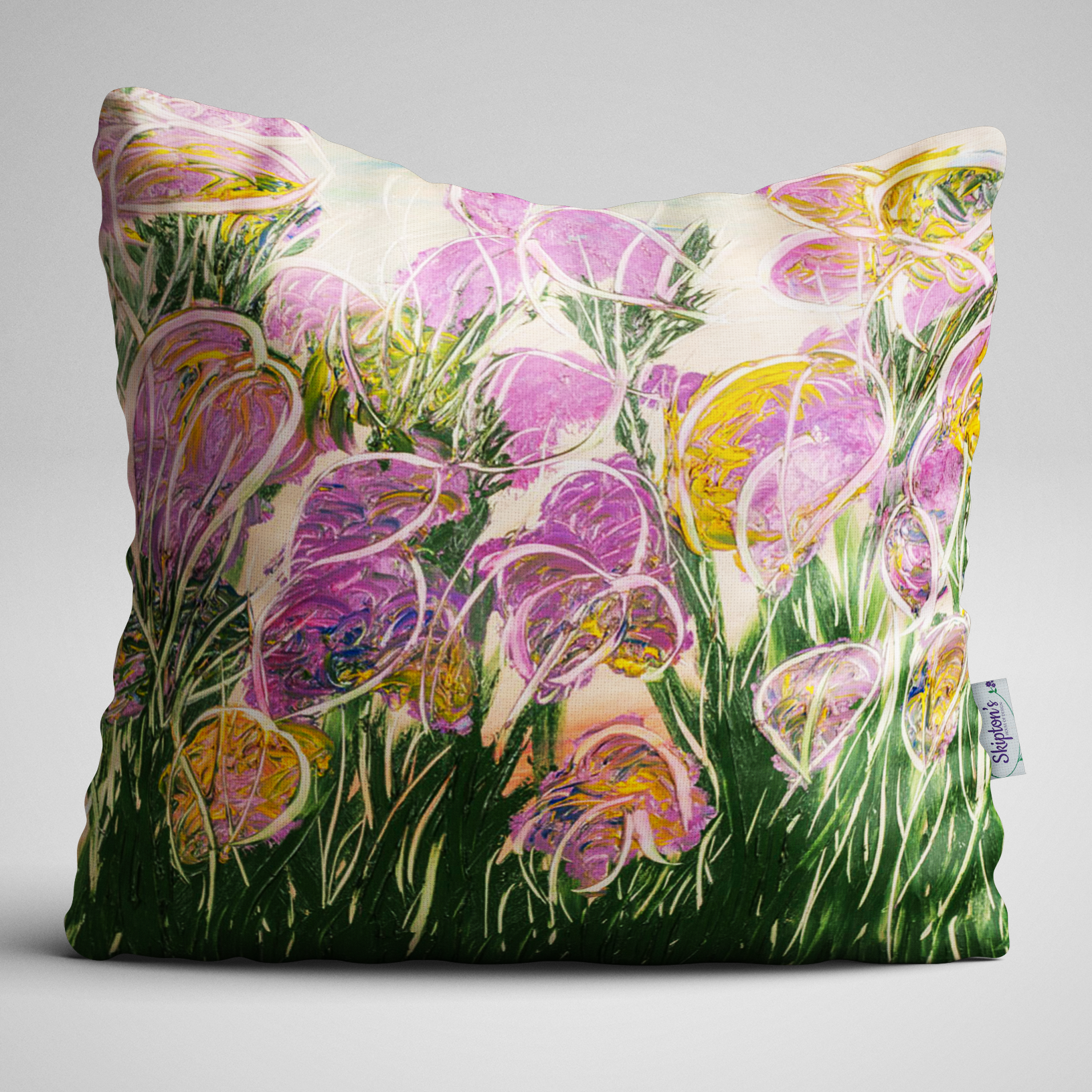 Bright Iris design on luxury velvet cushion