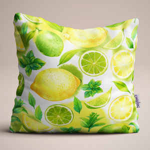 Lemon and Lime Luxury Linen Cushion design