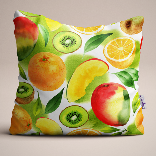 Mango and Kiwi Luxury Linen Cushion design