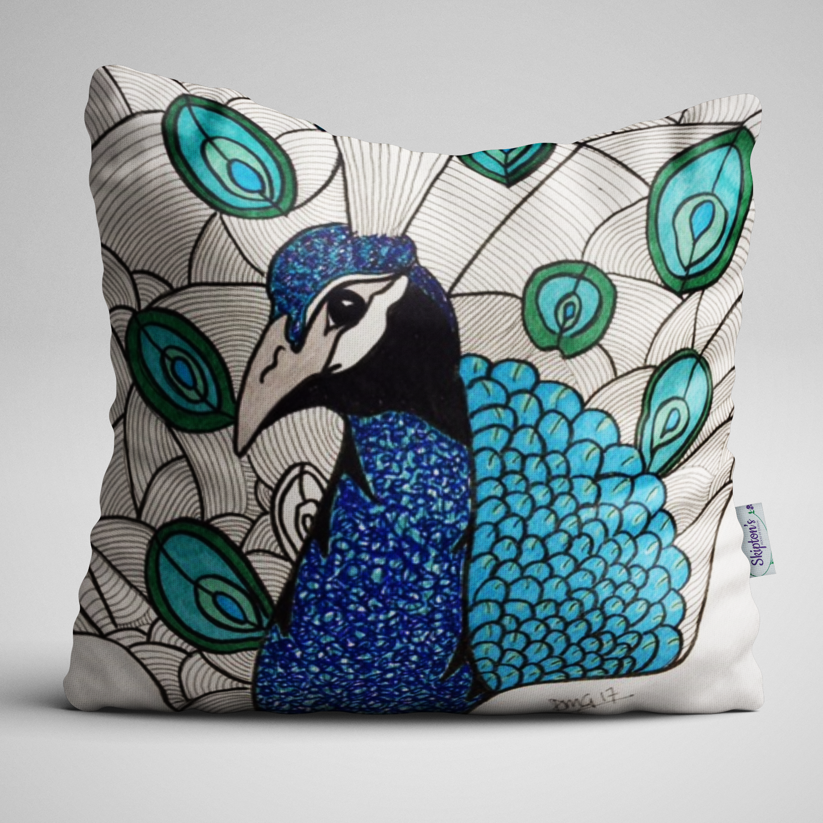Bold Peacock design on luxury velvet cushion
