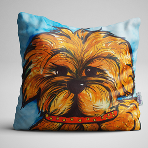 Luxury Velvet Cushion with dog face design