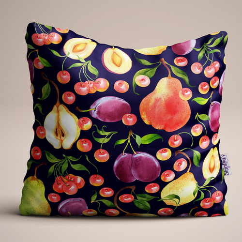 Plum and Pear design Luxury Linen Cushion