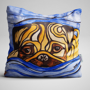 Striking Pug luxury velvet cushion design