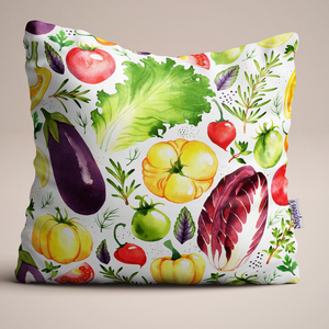 Raddichio and Aubergine Luxury Linen Cushion design