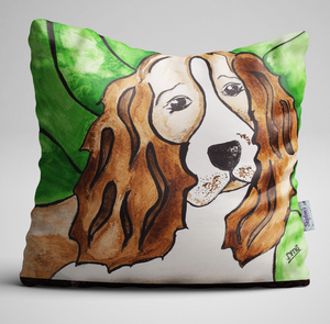 Luxury Velvet Cushion with Spaniel design