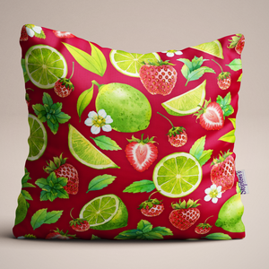 Strawberry and Lime Luxury Linen Cushion design