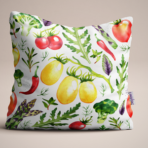 Tomato and Chilli design Luxury Linen Cushion