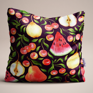 Watermelon and Cherry design Luxury Linen Cushion