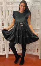 Leather look frilled dress