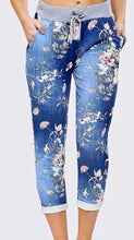 Plus size floral denim joggers