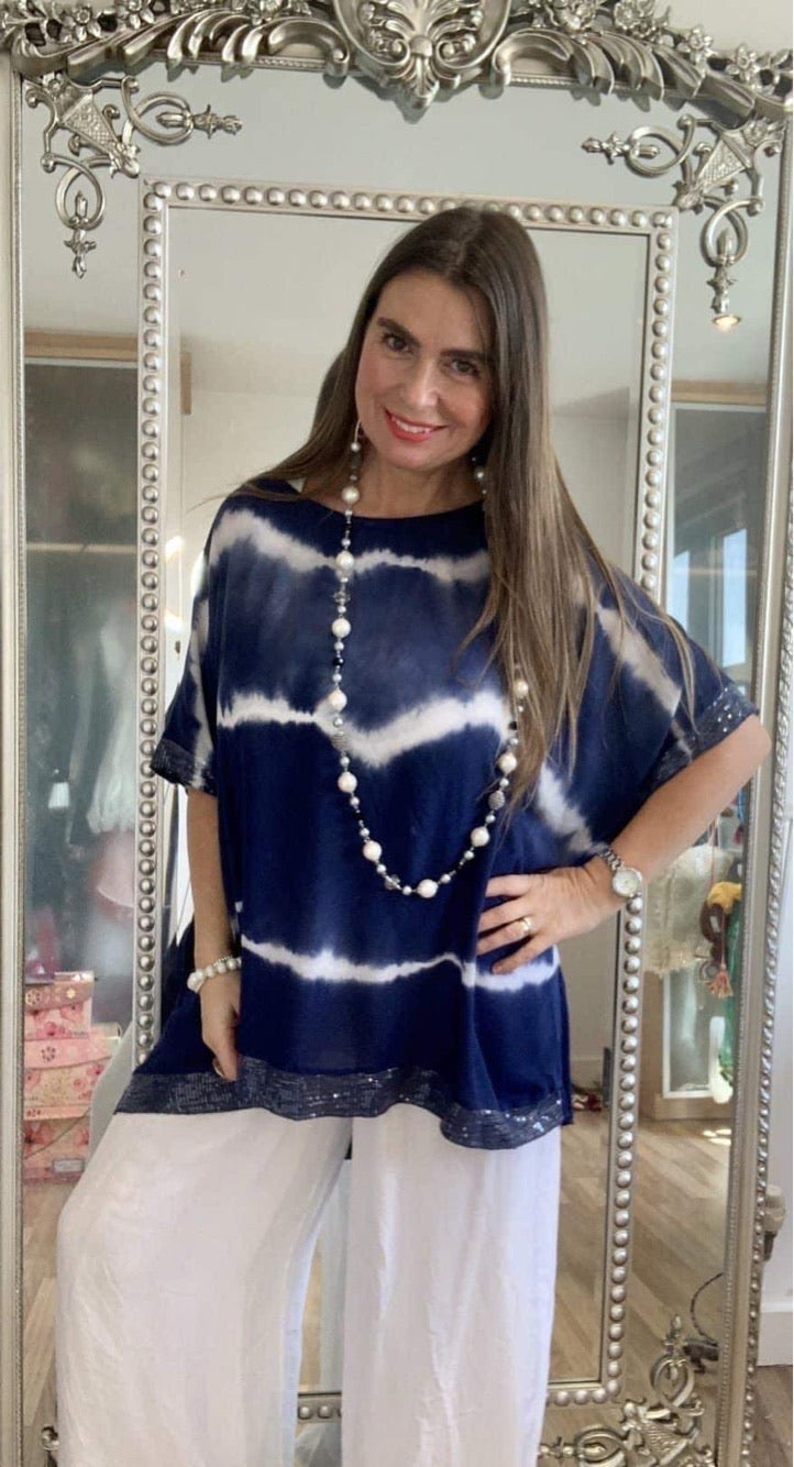 Tie Dye sequin edged t shirt