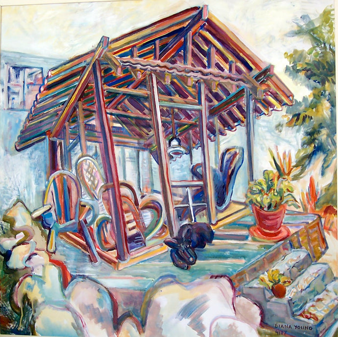 Sydney's Garden House, 2004, Diana Young, American b. 1936, 36 x 36 inches, gouache on board