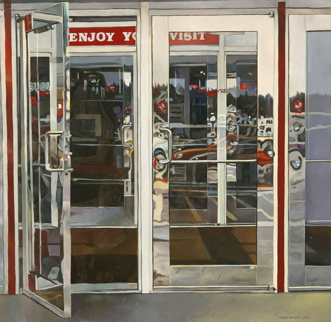 Mall Doors, 1999, Tobin Sprout, American b. 1955, 36 x 35 inches, oil on canvas