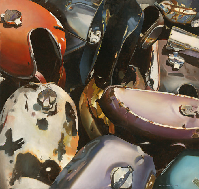 Gas Tanks, 1998, Tobin Sprout, American b. 1955, 38 x 36 inches, oil on canvas