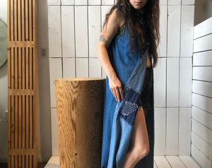 Vintage Sleeveless Denim Long Button Up w. Sashiko Mending details | 1990s