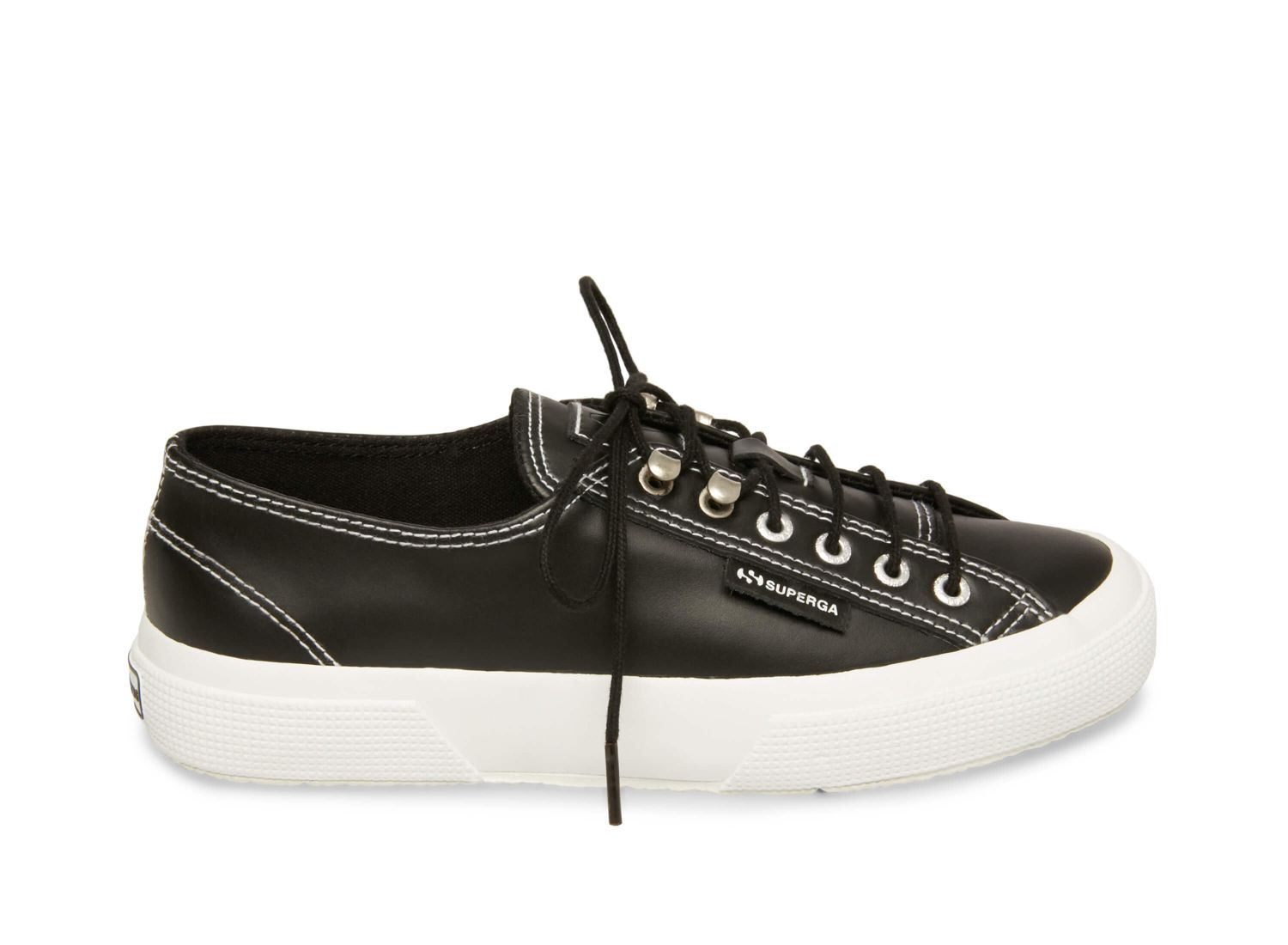 Superga 2748 leabrushw black leather side