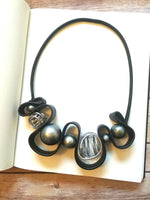 Leather & Spheres Statement Necklace - B. Royal Boutique