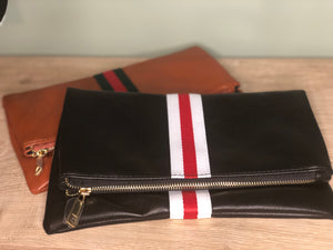 Leather Foldover Clutch bag