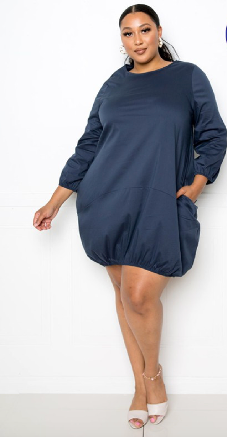 Navy Blue Bubble Dress