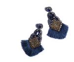 Royal Blue Tassel Earring