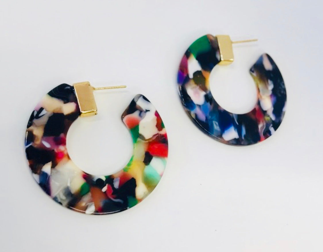 Stained Glass Hoop Earrings