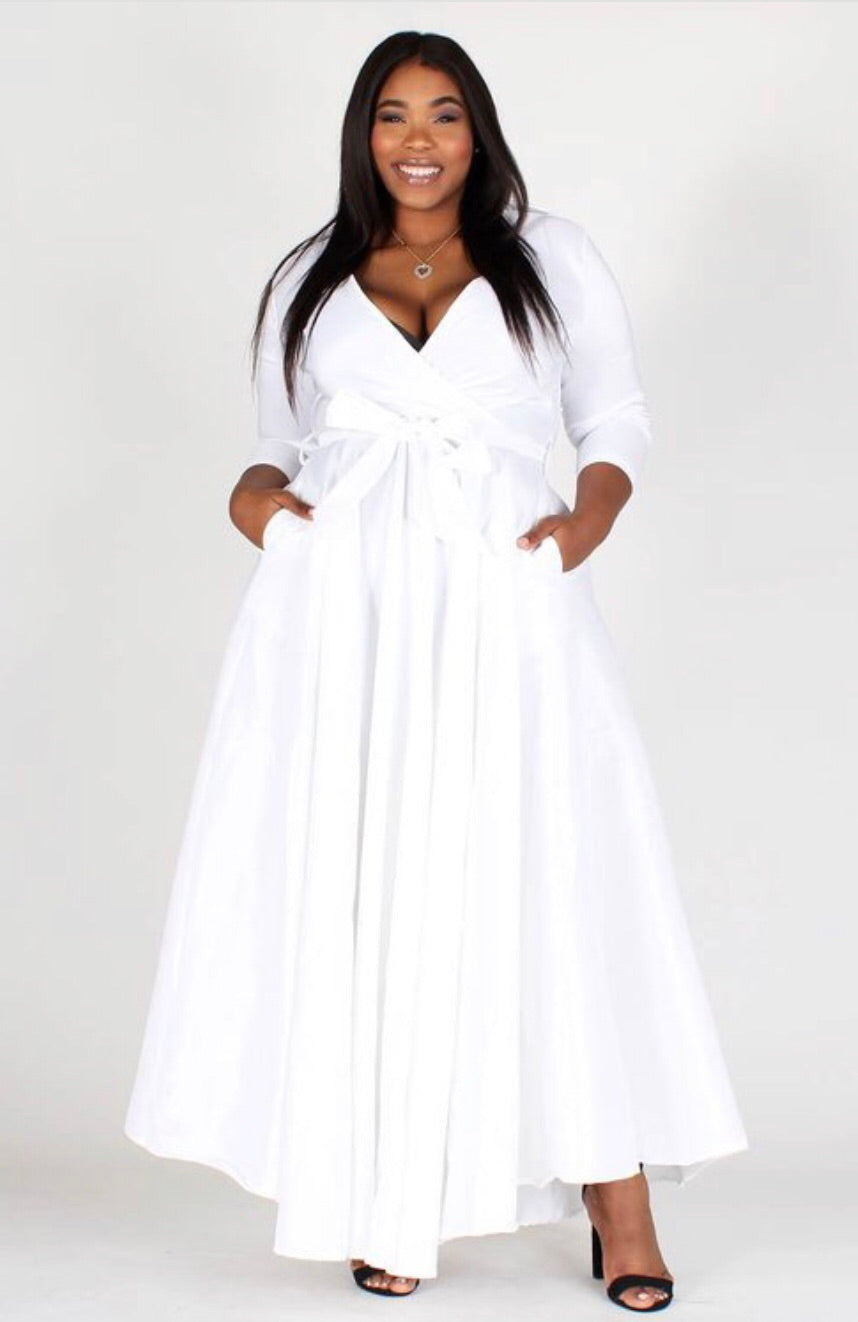Satin White Wrap Dress Curvy