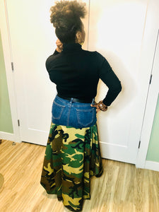 Ankara Sustainable Denim Skirt