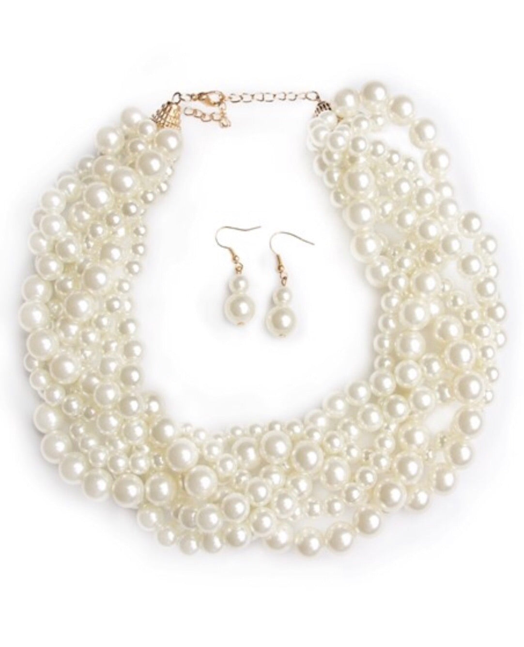 Clutching Pearl Choker Necklace Set