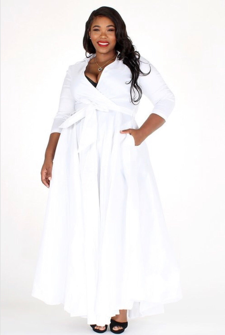 Satin White Wrap Dress Curvy - 1(3X)