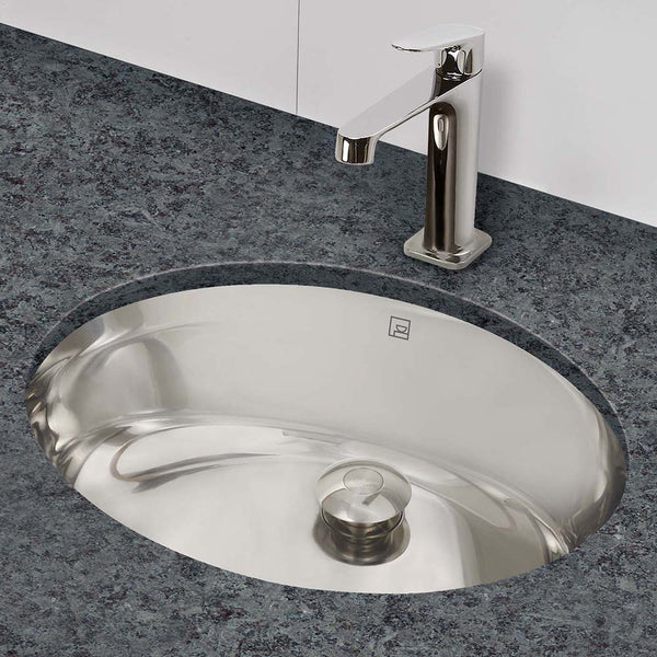 Taji ® Oval Brushed Stainless Steel Undermount Bathroom Sink with Overflow