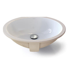 Carlyn® Oval White Vitreous China Undermount Bathroom Sink with Overflow